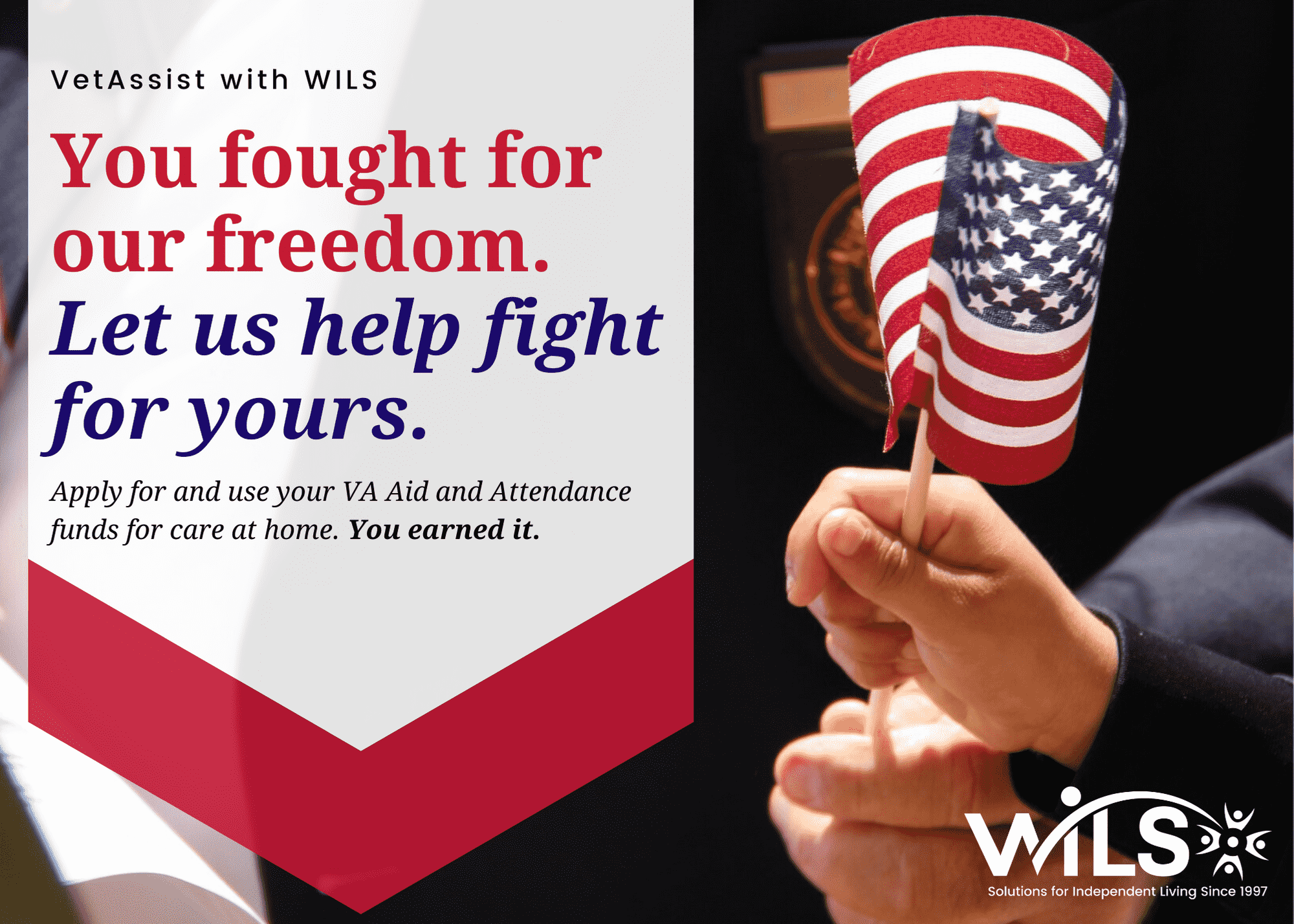 You fought for our freedom. Let us help fight for yours. Older hand and younger hand hold an American flag.